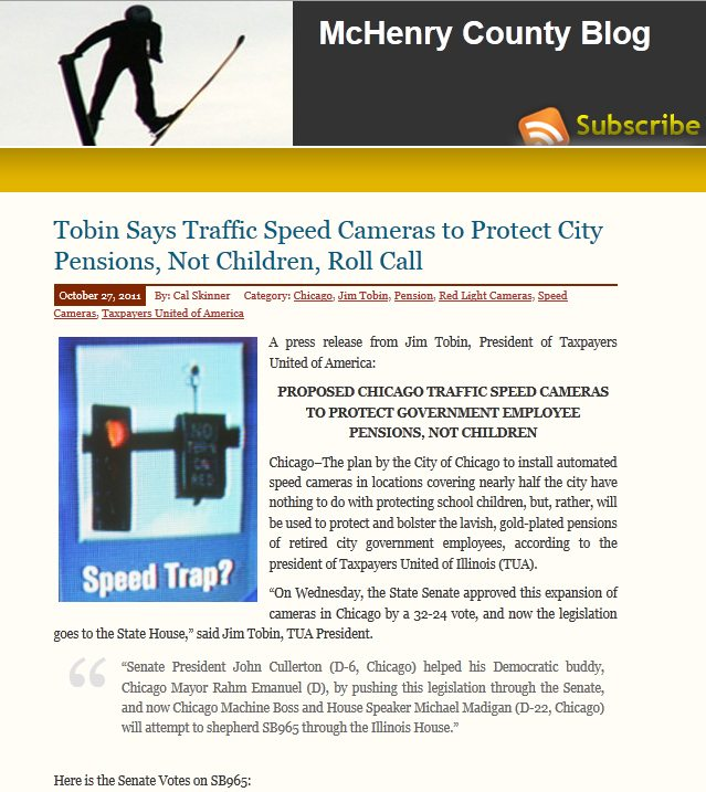 McHenry County Blog | Tobin Says Traffic Speed Cameras to Protect City Pensions, Not Children, Roll Call