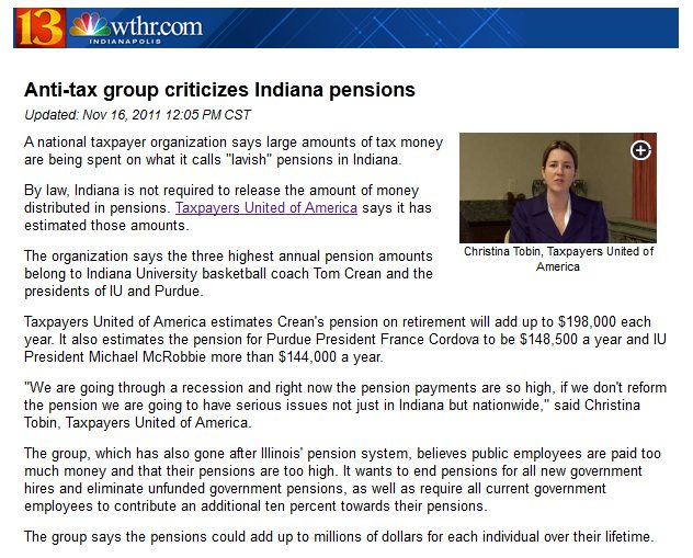 NBC Indianapolis | Anti-tax group criticizes Indiana pensions