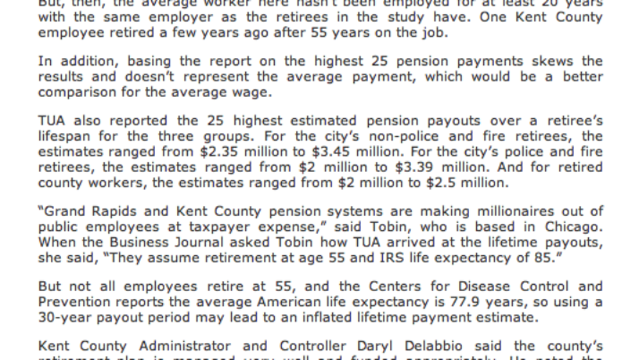 Grand Rapids Business Journal   Group labels city, county pensions 'gold plated'
