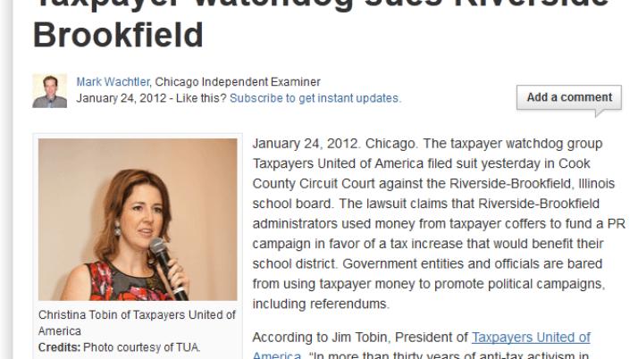 examiner.com | Taxpayer watchdog sues Riverside Brookfield