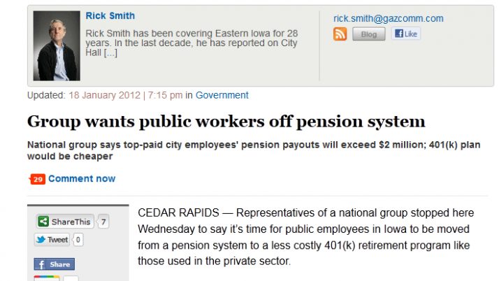 The Gazette | Group wants public workers off pension system