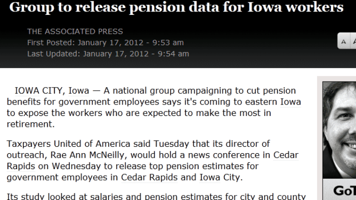 The Republic (Associated Press) | Group to release pension data for Iowa workers
