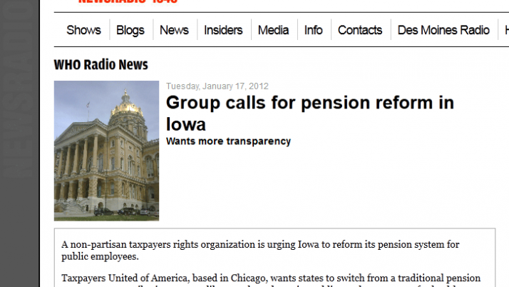WHO Newsradio 1040 | Group  calls for pension reform in Iowa