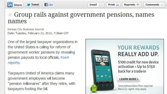 Kansas City Business Journal | Group rails against government pensions, names names