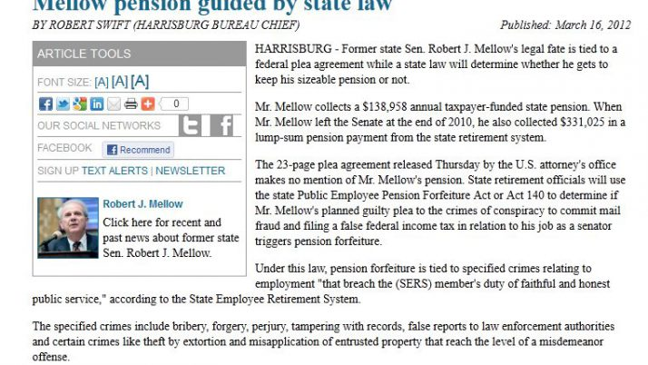 Times-Tribune | Mellow pension guided by state law