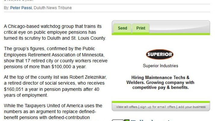 Duluth News Tribune | Duluth, St. Louis County retirees see six-figure pensions