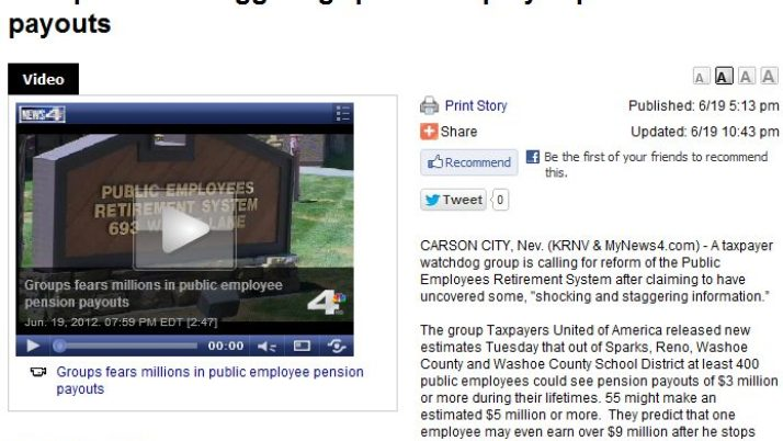 "KRNV News 4 | Groups fears ""staggering"" public employee pension payouts"