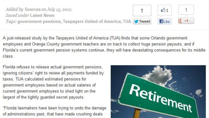 West Orlando Online News | Study: Florida Government Pensions Crushing Middle Class