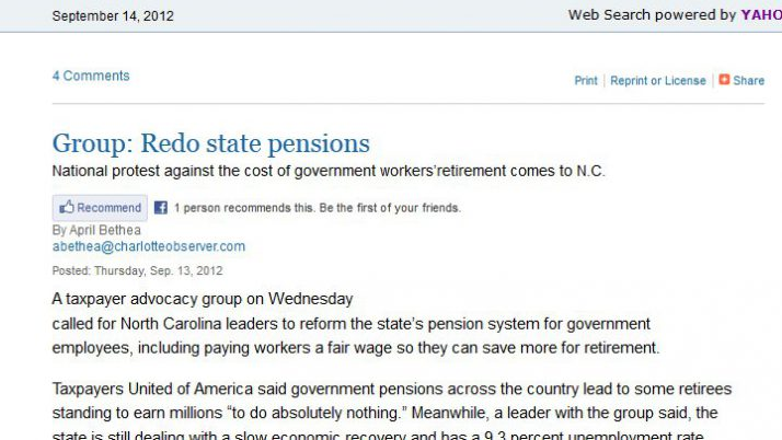 Charlotte Observer | Group: Redo state pensions