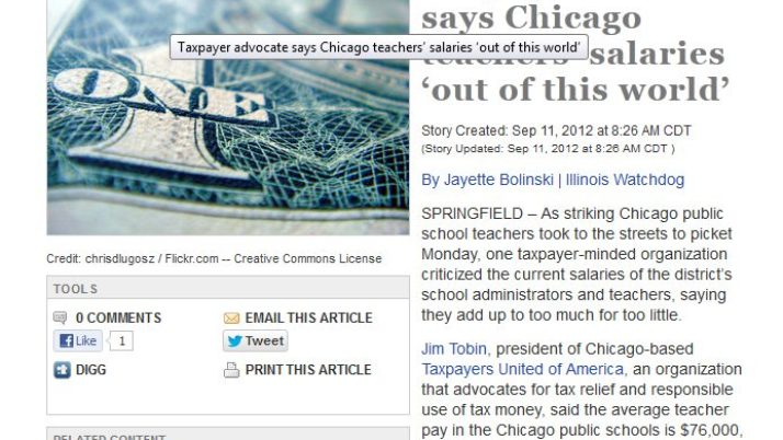 Fox News Illinois | Taxpayer advocate says Chicago teachers' salaries 'out of this world'