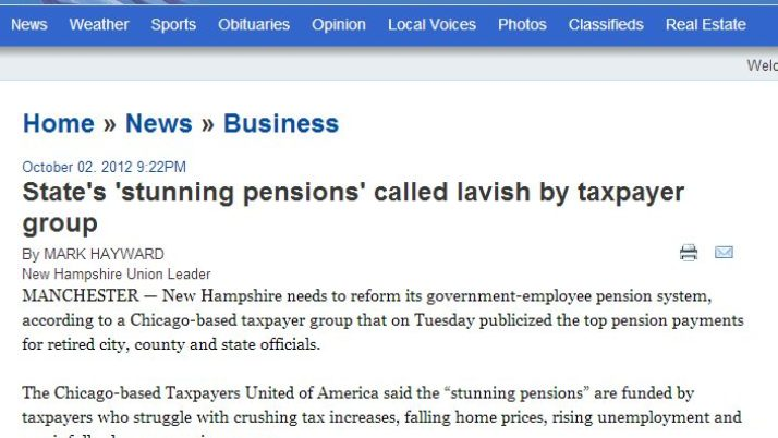 Union Leader | State's 'stunning pensions' called lavish by taxpayer group