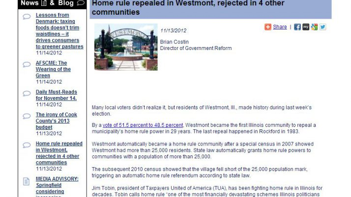 IllinoisPolicy.org | Home rule repealed in Westmont, rejected in 4 other communities