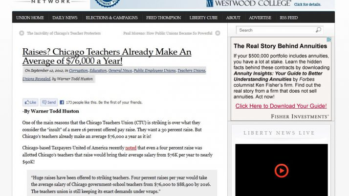 Union Label | Raises? Chicago Teachers Already Make An Average of $76,000 a Year!