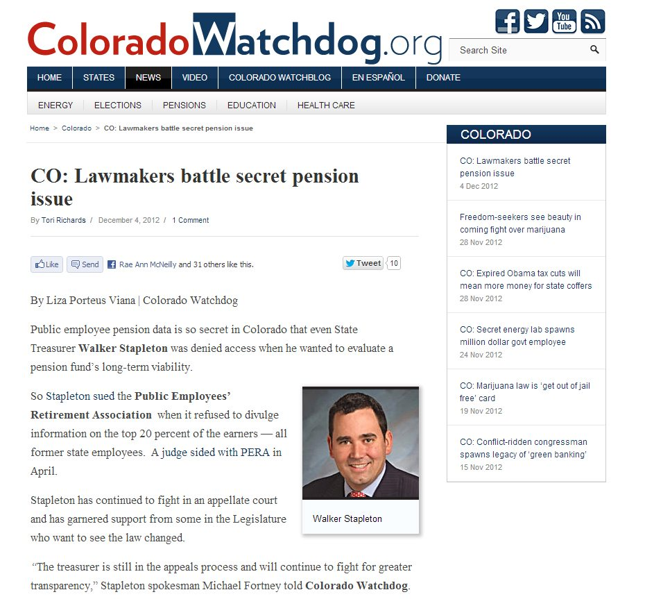 Colorado Watchdog | CO: Lawmakers battle secret pension issue
