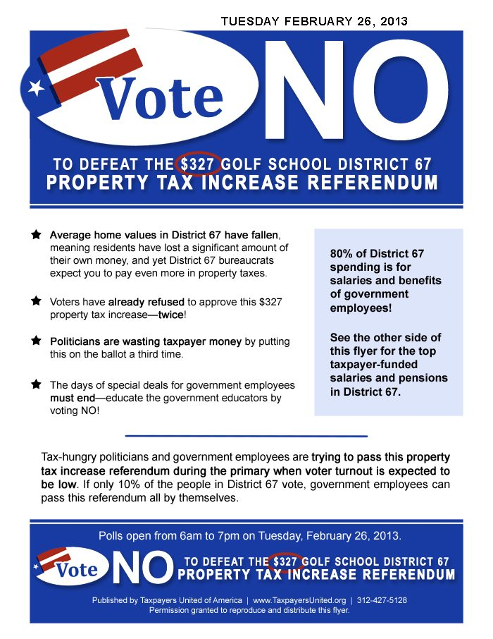 Vote No on Golf School Dist. 67 Property Tax Increase Referendum – Again!
