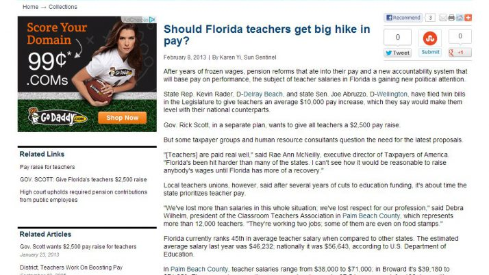 Sun Sentinel | Should Florida teachers get big hike in pay?