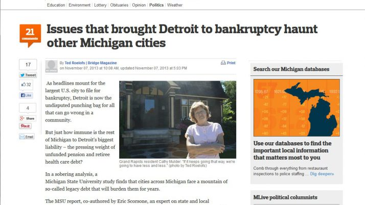 MLive.com | Issues that brought Detroit to bankruptcy haunt other Michigan cities