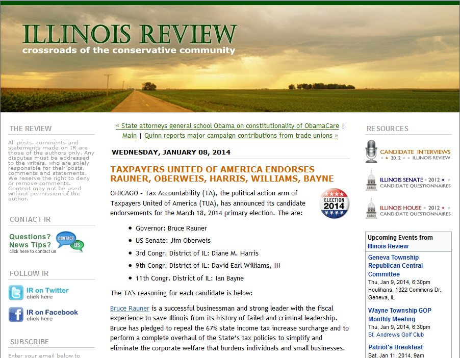 Illinois Review | Taxpayers United of America endorses Rauner, Oberweis, Harris, Williams, Bayne