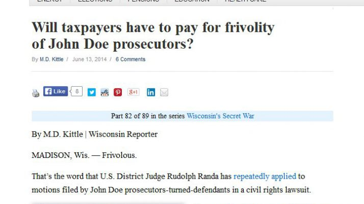 Wisconsin Reporter | Will taxpayers have to pay for frivolity of John Doe prosecutors?