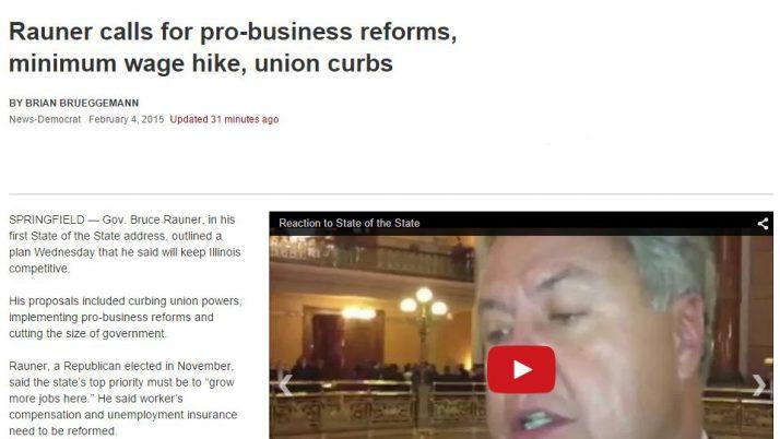 Belleville News-Democrat   Rauner calls for pro-business reforms, minimum wage hike, union curbs