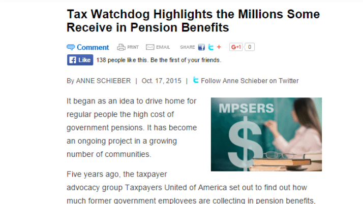 CAPCON Tax Watchdog Highlights the Millions Some Receive in Pension Benefits