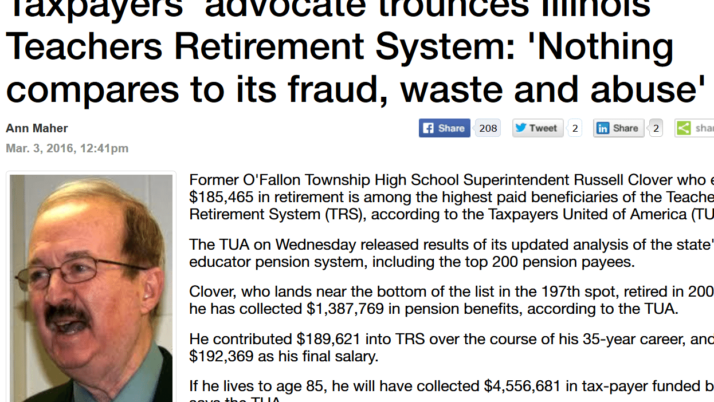 Madison Record|Taxpayers' advocate trounces Illinois Teachers Retirement System: 'Nothing compares to its fraud, waste and abuse'