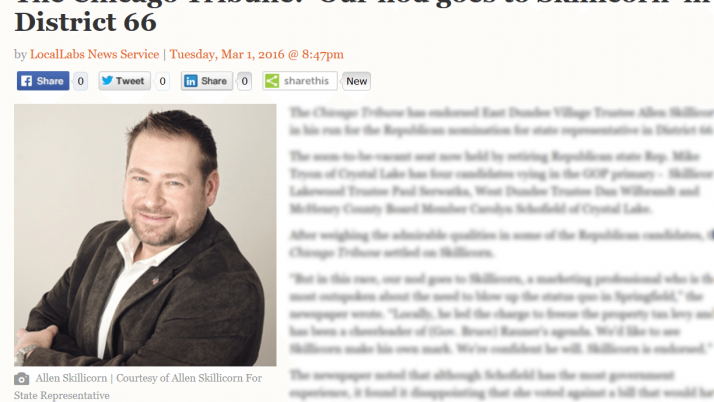McHenry Times|The Chicago Tribune: 'Our nod goes to Skillicorn' in District 66