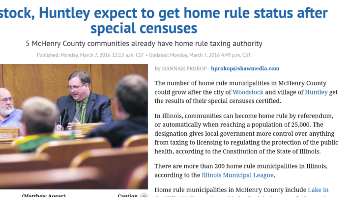 Northwest Herald|Woodstock, Huntley expect to get home rule status after special censuses
