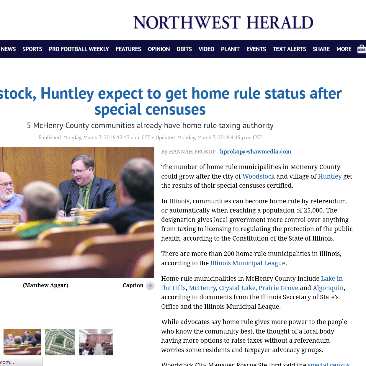 Illinois mchenry county huntley - Woodstock Huntley Expect To Get Home Rule Status After Special Censuses Taxpayers United Of America