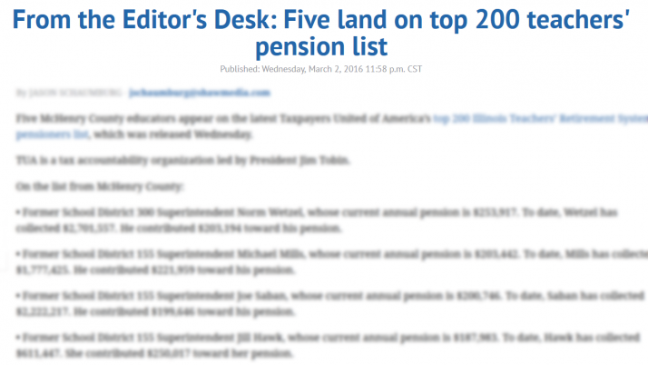 Northwest Herald|From the Editor's Desk: Five land on top 200 teachers' pension list