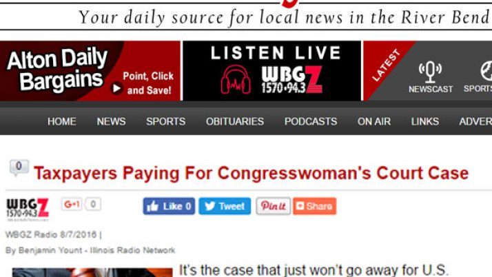 Alton Daily News|Taxpayers Paying For Congresswoman's Court Case