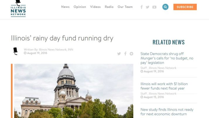 Illinois News Network|Illinois' rainy day fund running dry