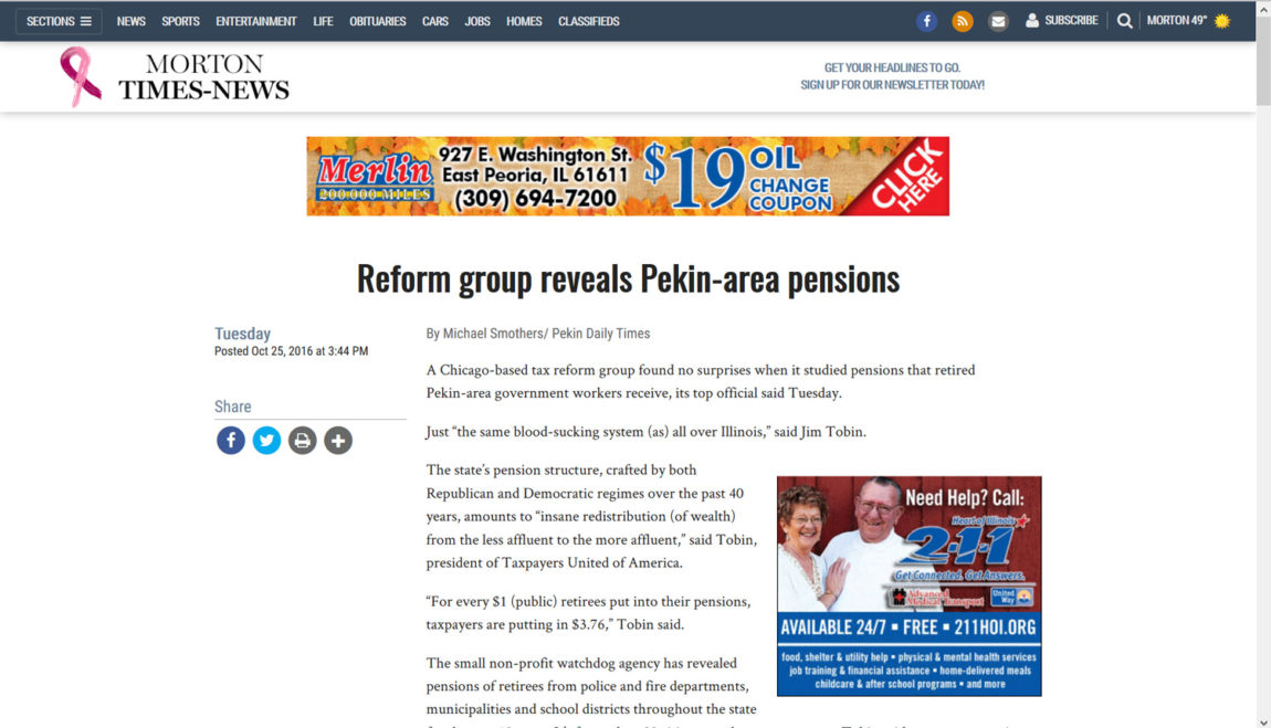 Morton Times-News | Reform group reveals Pekin-area pensions