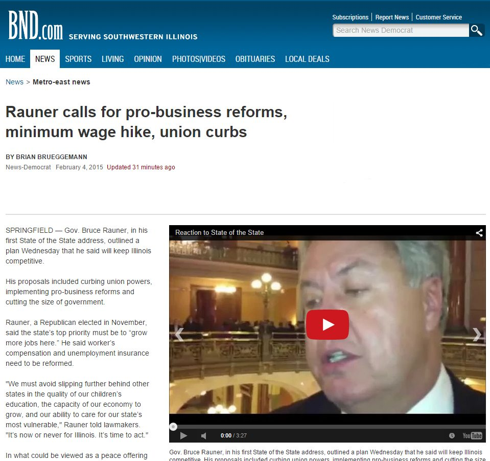 Belleville News-Democrat | Rauner calls for pro-business reforms, minimum wage hike, union curbs