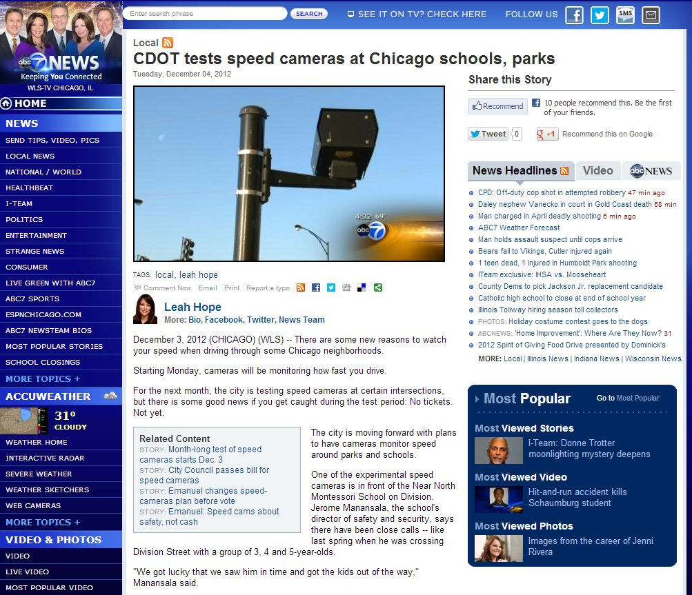 ABC 7 Chicago | CDOT tests speed cameras at Chicago schools, parks