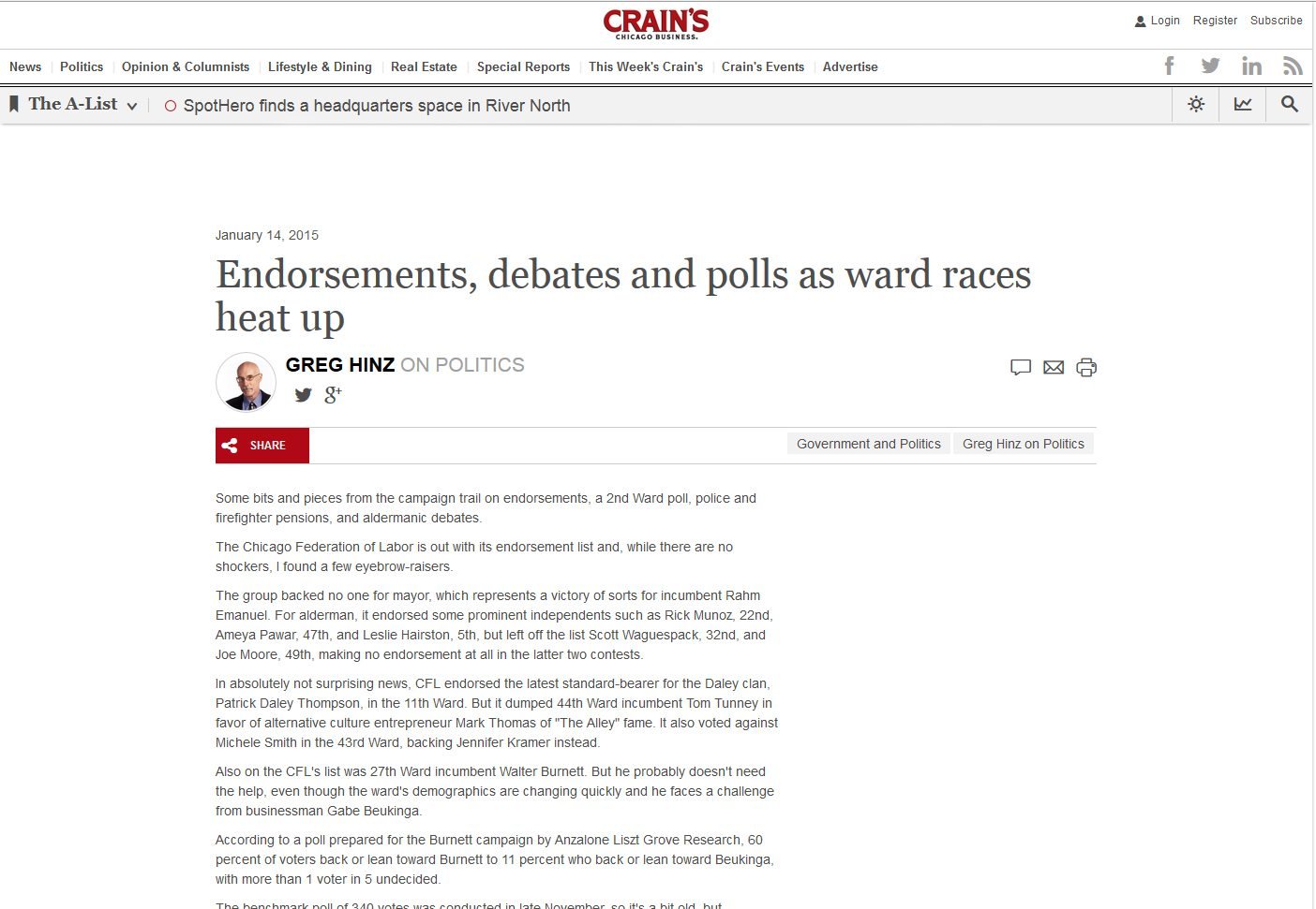 Crain's | Endorsements, debates and polls as ward races heat up