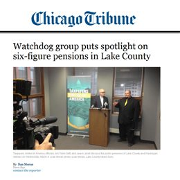 Chicago Tribune | Watchdog group puts spotlight on six-figure pensions in Lake County