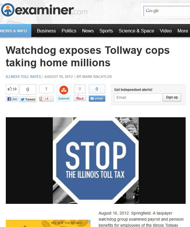 Examiner.com | Watchdog exposes Tollway cops taking home millions