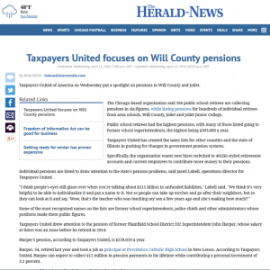 The Herald-News   Taxpayers United focuses on Will County pensions