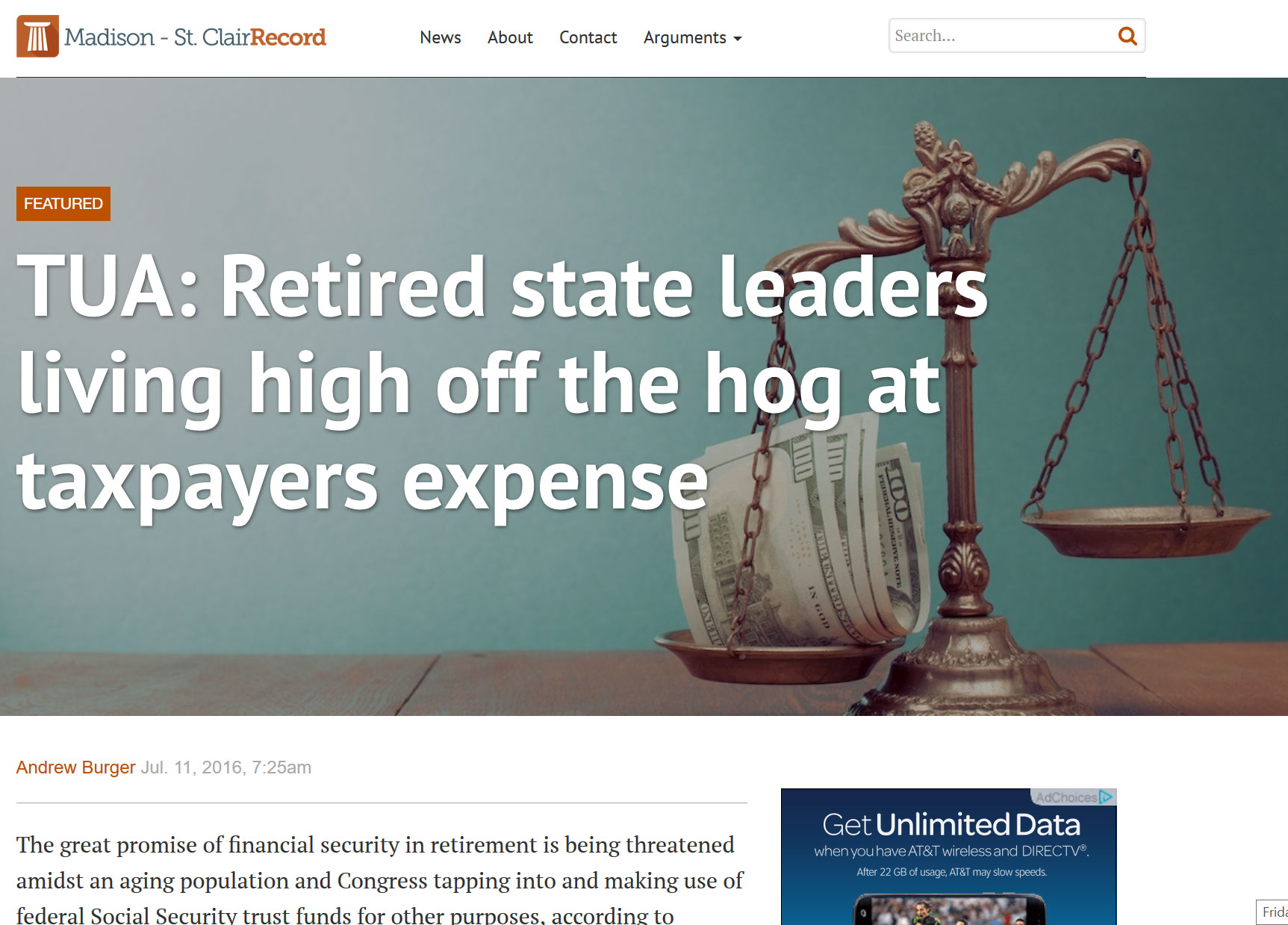 Madison Record|TUA: Retired state leaders living high off the hog at taxpayers expense