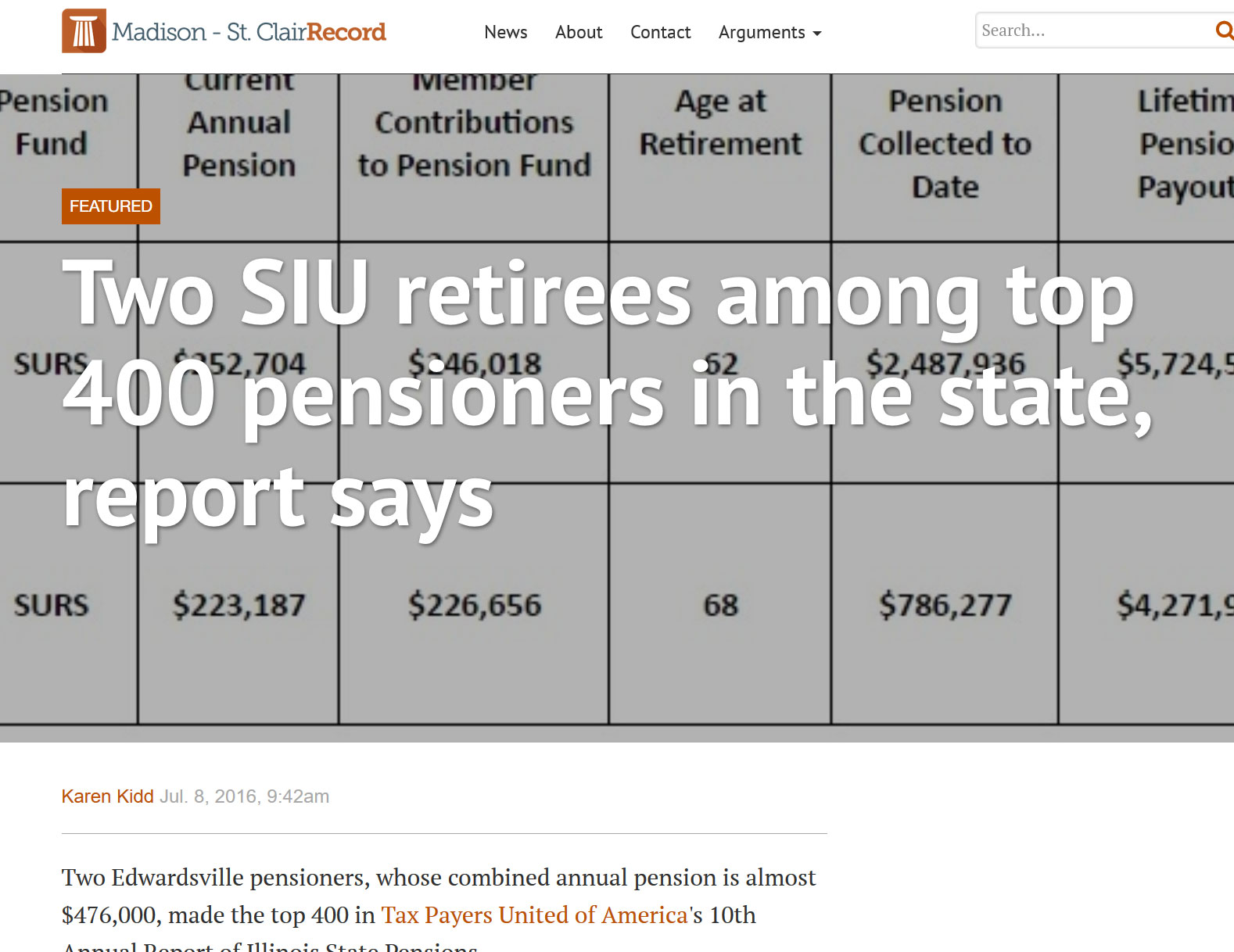 Madison Record|Two SIU retirees among top 400 pensioners in the state, report says