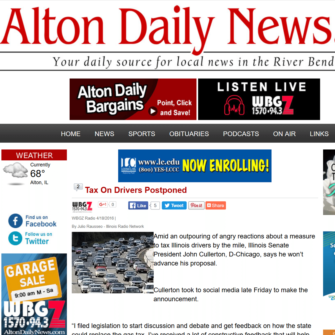 Alton Daily News|Tax On Drivers Postponed