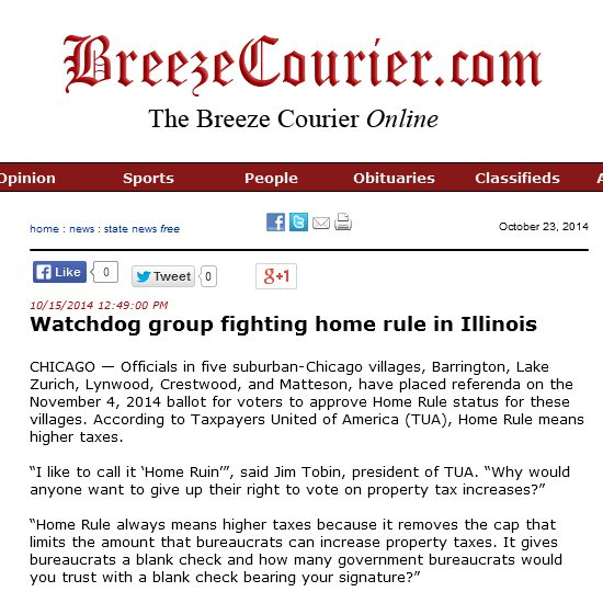 The Breeze Courier Online | Watchdog group fighting home rule in Illinois