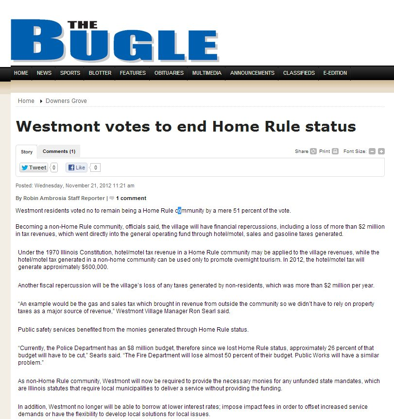 The Bugle | Westmont votes to end Home Rule status