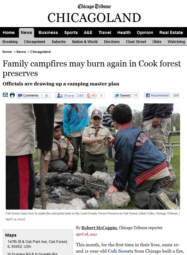 Chicago Tribune | Family campfires may burn again in Cook forest preserves
