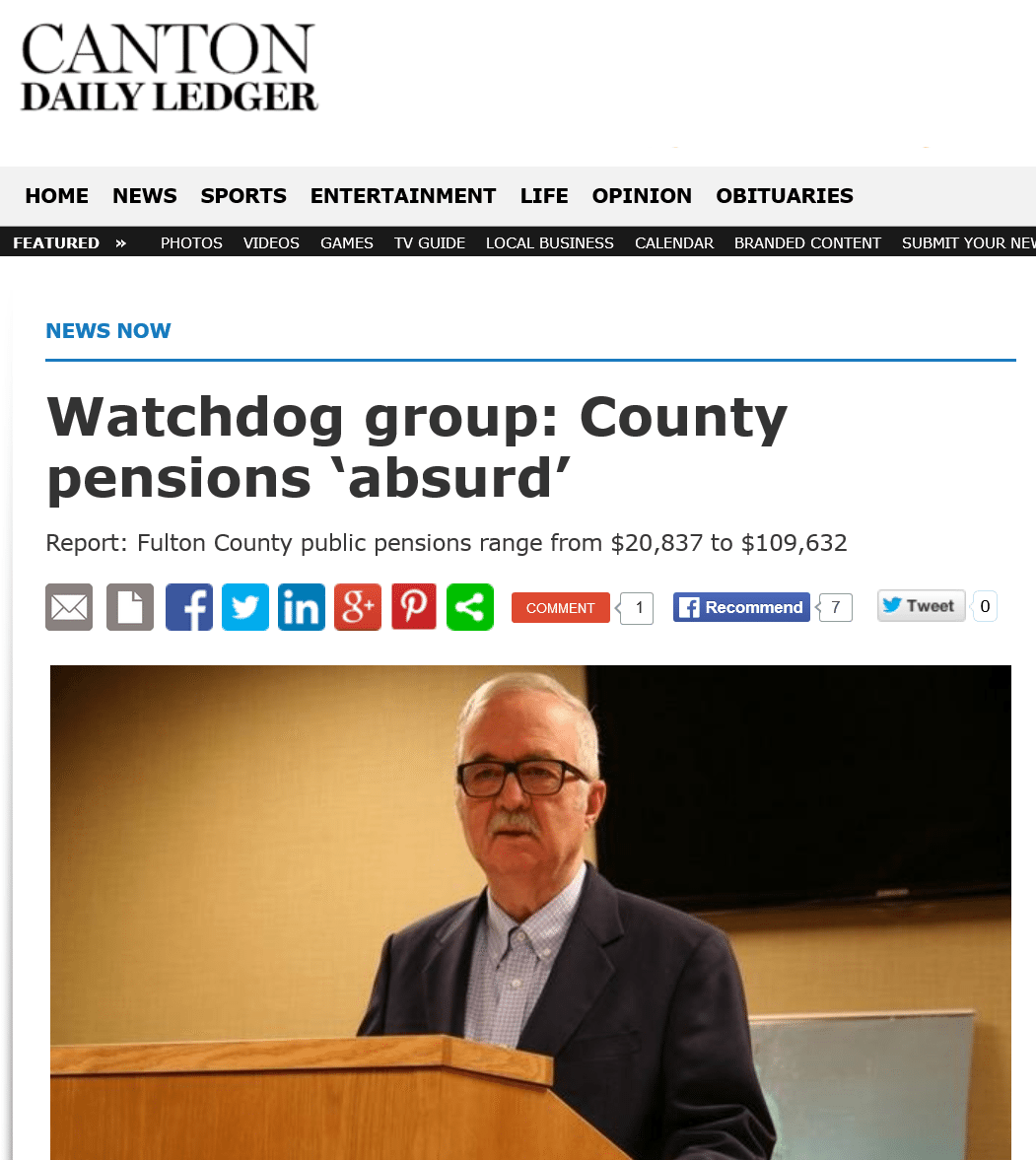 Canton Daily Ledger|Watchdog group: County pensions 'absurd'