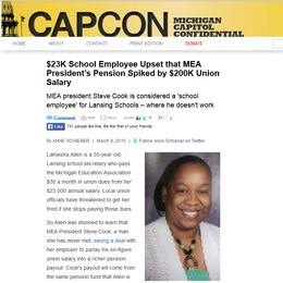 CAPCON | $23K School Employee Upset that MEA President's Pension Spiked by $200K Union Salary