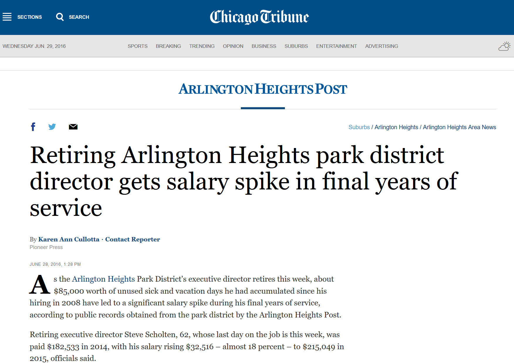 Chicago Tribune|Retiring Arlington Heights park district director gets salary spike in final years of service