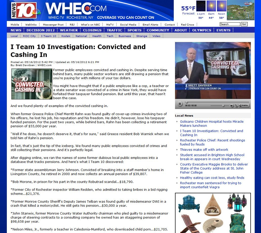 WHEC TV News 10 | Convicted and Cashing In