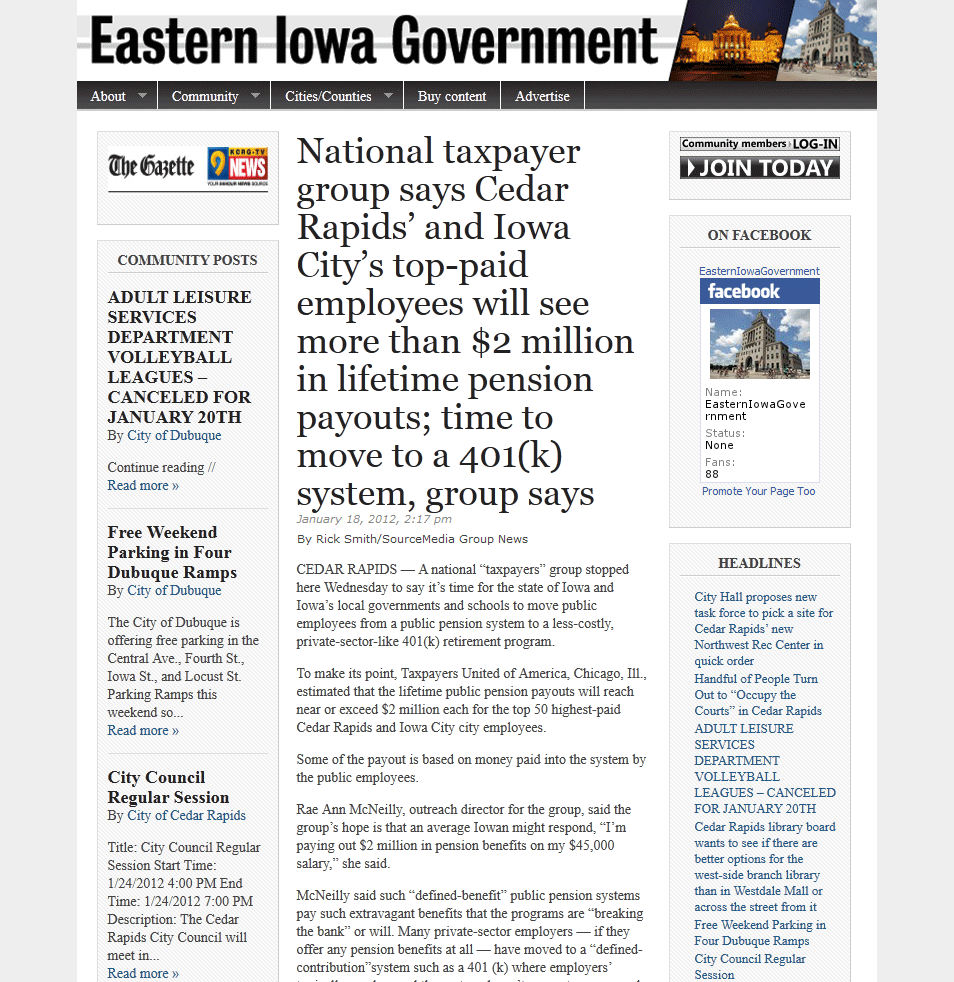 Eastern Iowa Government | National taxpayer group says Cedar Rapids' and Iowa City's top-paid employees will see more than $2 million in lifetime pension payouts